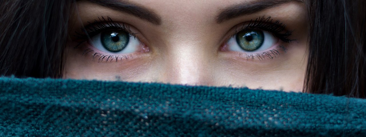 Woman Eyes Scarf Over Face 1280x480