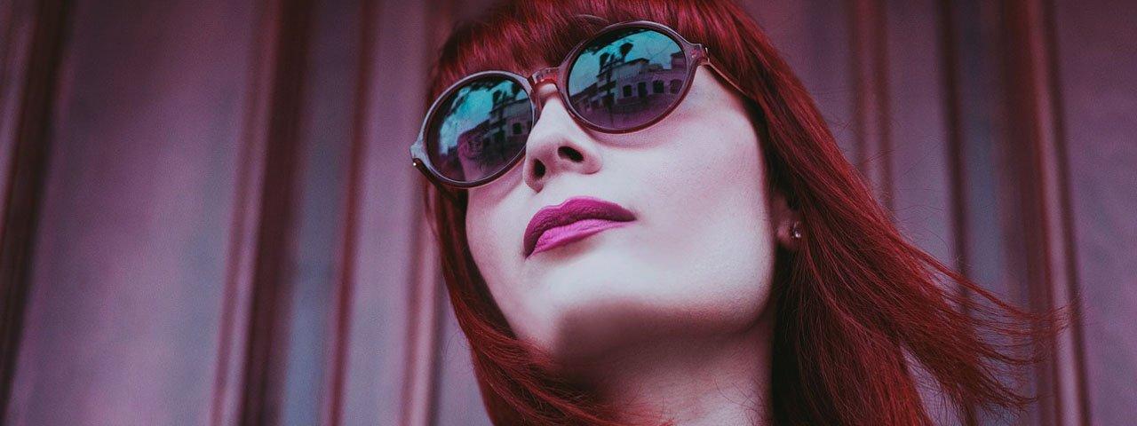 Woman Sunglasses Red Hair 1280x480