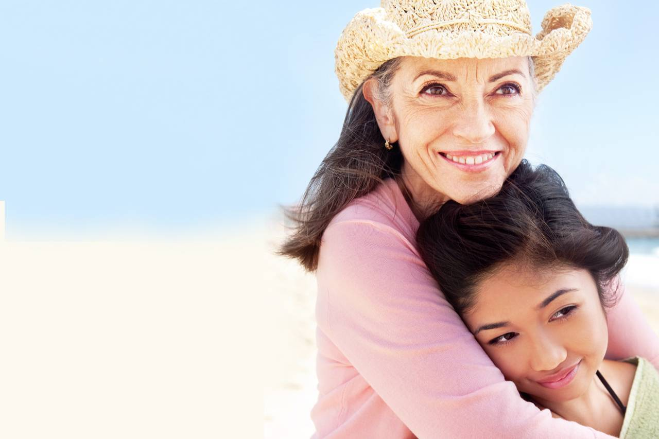 Grandmother and Child Hugging