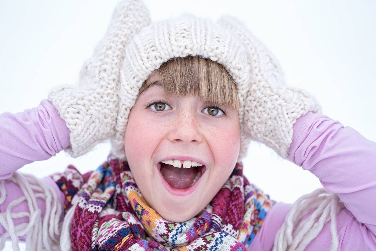 Happy Girl Purple White Winter Attire 1280x853