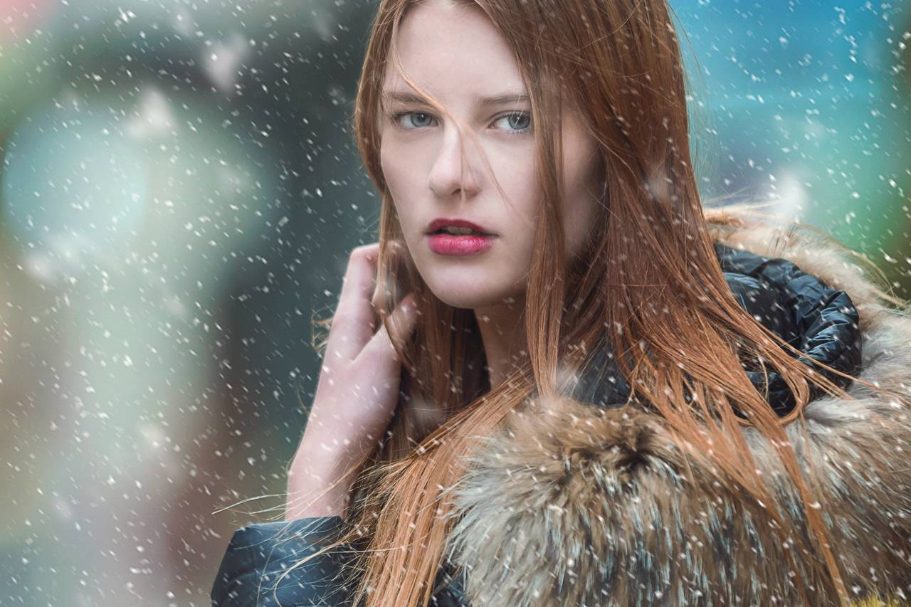 Young Woman Snow Long Hair 1280x853