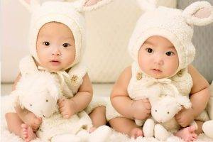 Asian babies dressed as bunnies in Dade City