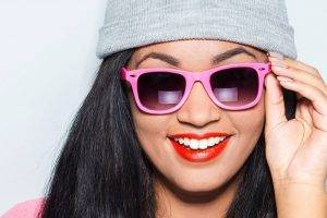 asian teen sunglasses close up