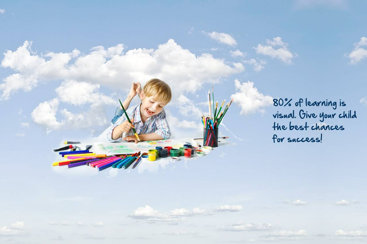 boy painting clouds