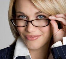 blond wearing glasses