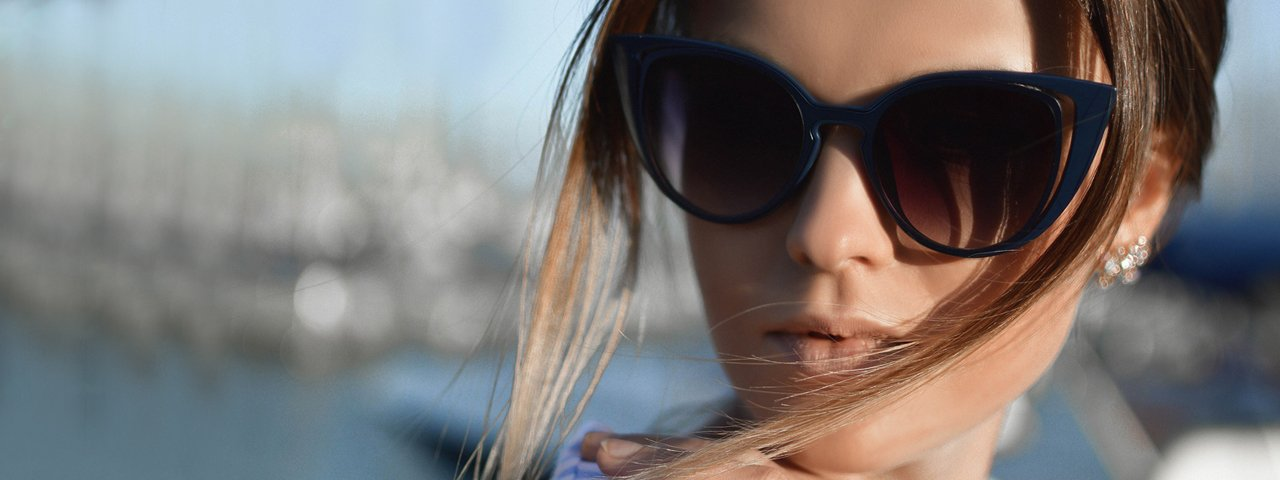 Woman Sunglasses Hair Blowing 1280x480