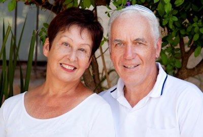 senior couple in white