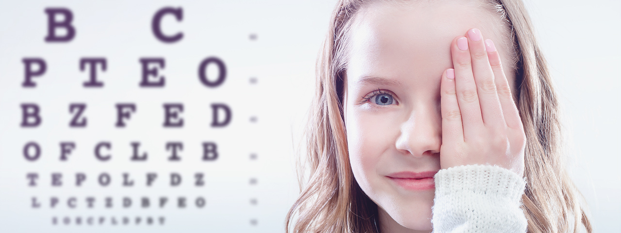 Girl having Eye Exam in Ajax (Hours and Location Info on Side)