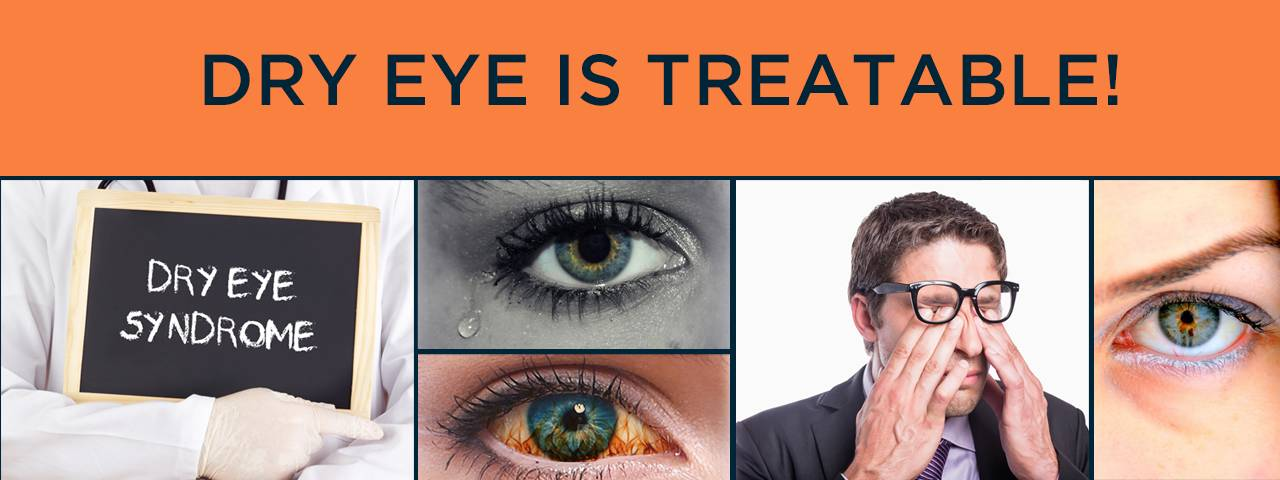 dry eye banner with close up of eyes and man wiping eyes