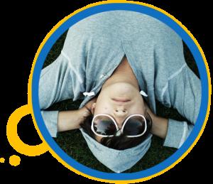 person upsidedown sunglasses