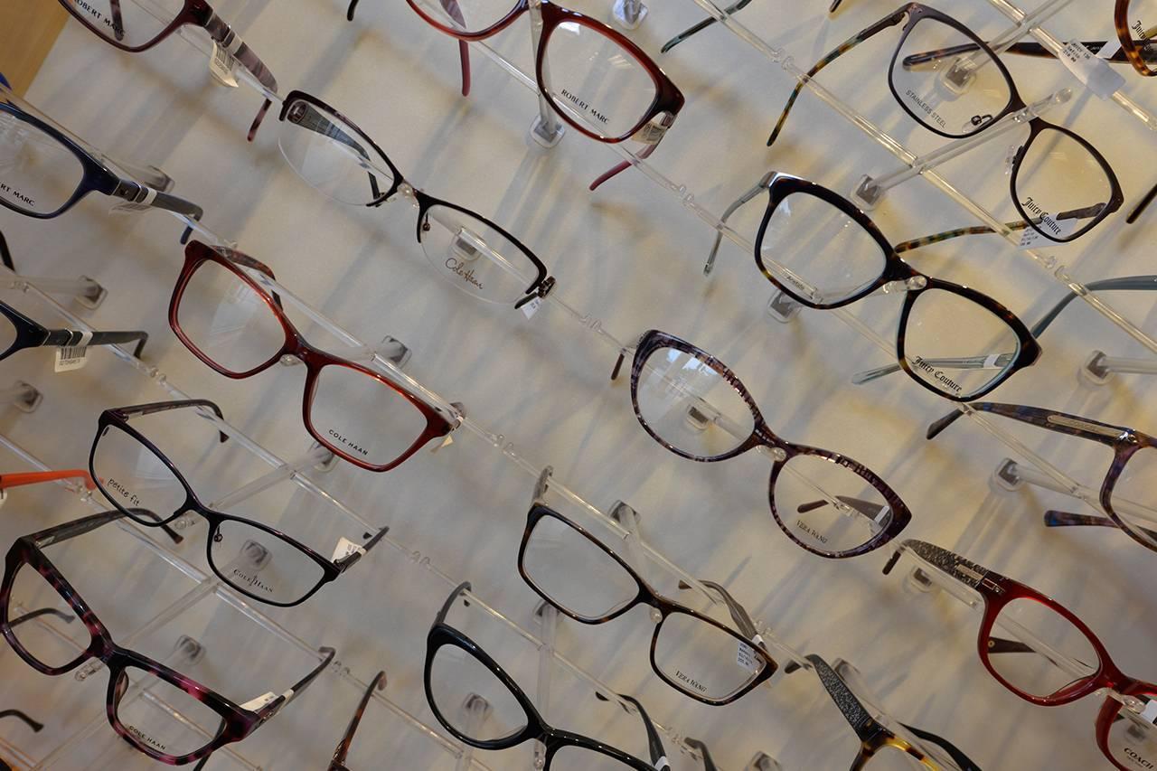 eyeglasses-wall-display-on-a-slant