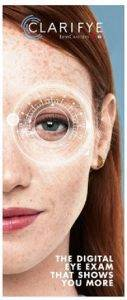 Clarifye Digital Eye Exam ad with fair skinned brunette woman for Lenscrafters in Chapel Hill Mall