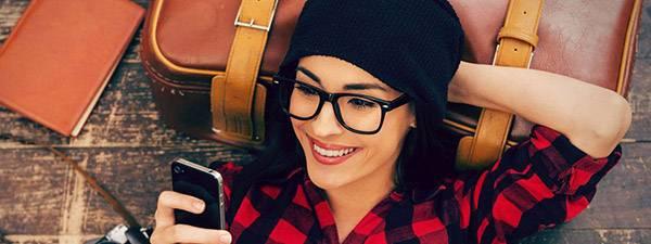 Woman wearing eyeglasses in Downtown Edmonton