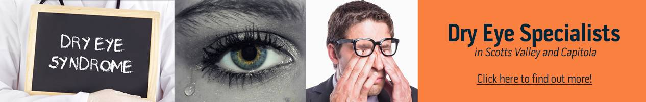 dry eye syndrome banner with man rubbing dry eyes, blackboard, and close up of eye at InSight Eyecare Optometry