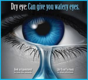 Dry Eye: Can Give You Watery Eyes text on close up of blue eyes