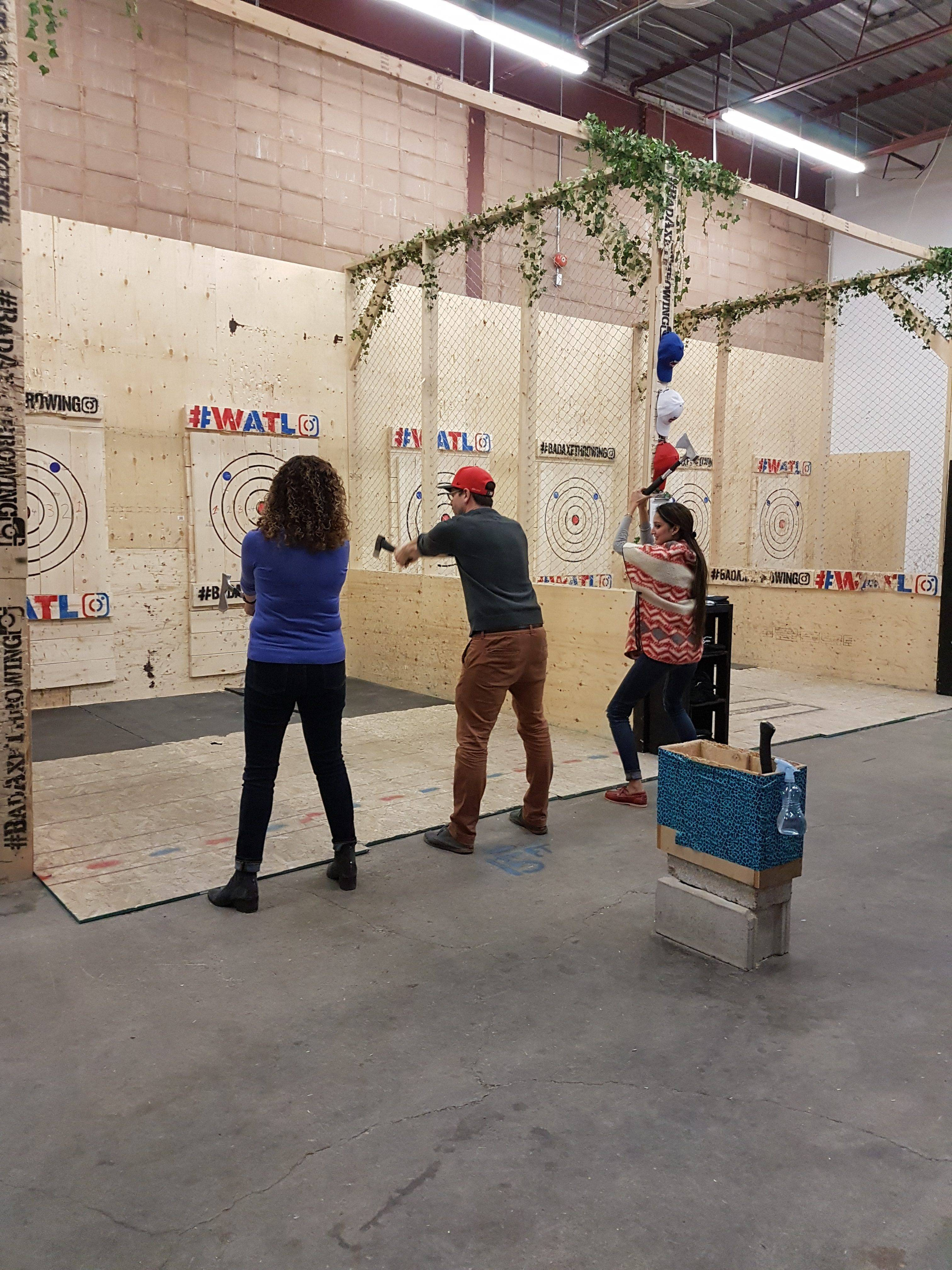 Jan and Robin throwing axes