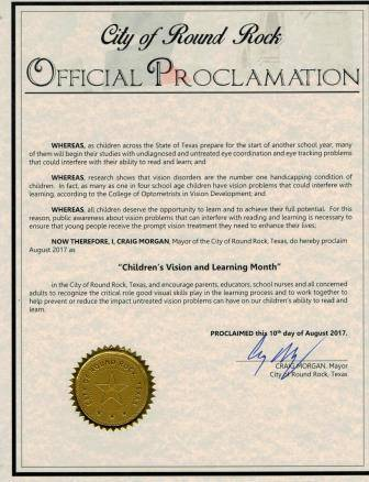 Proclamation from Round Rock Mayor