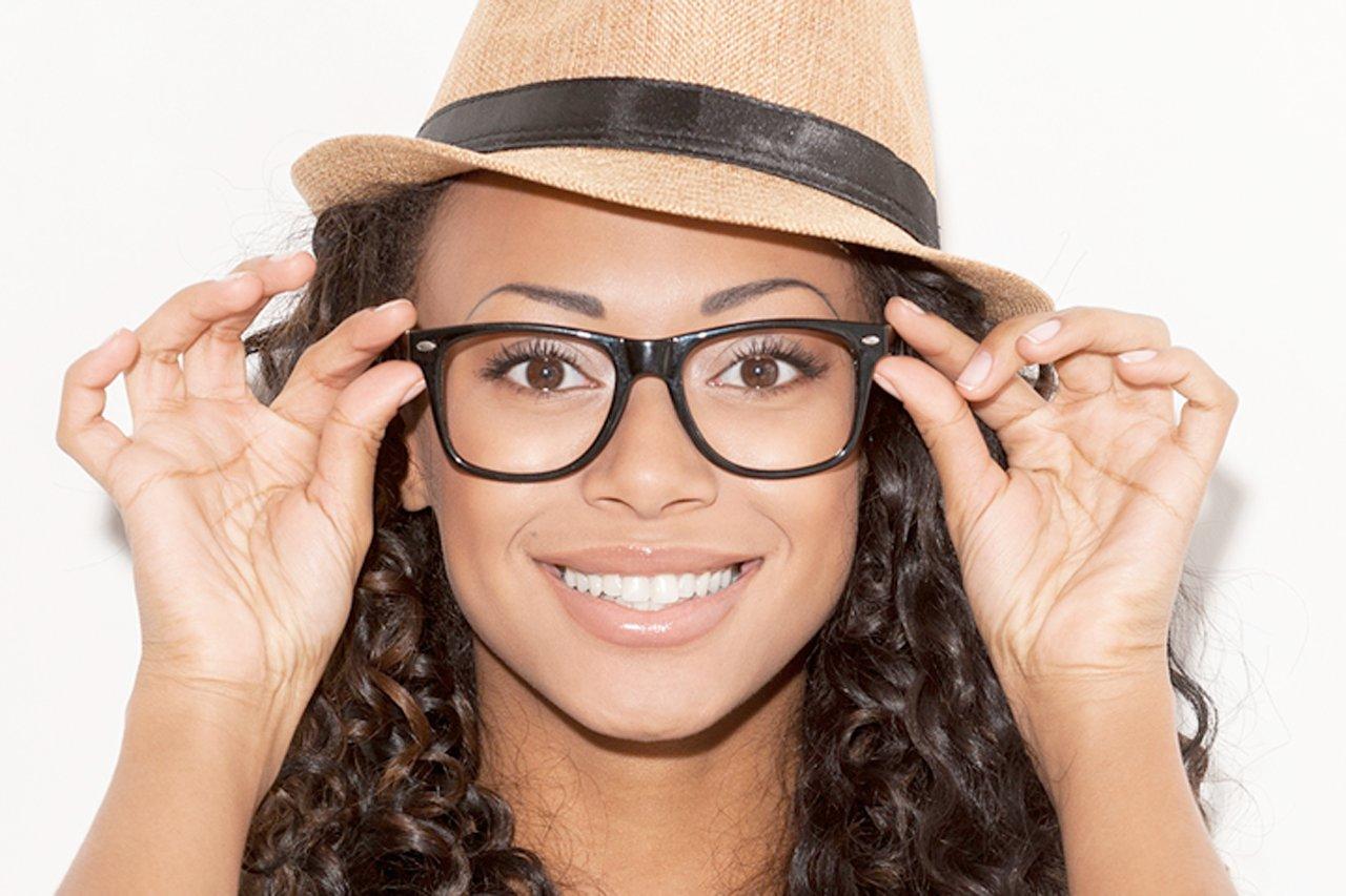african american woman wearing new eyeglasses in jacksonville fl