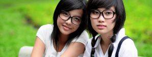 Girls Glasses Bench Outdoors_compressed