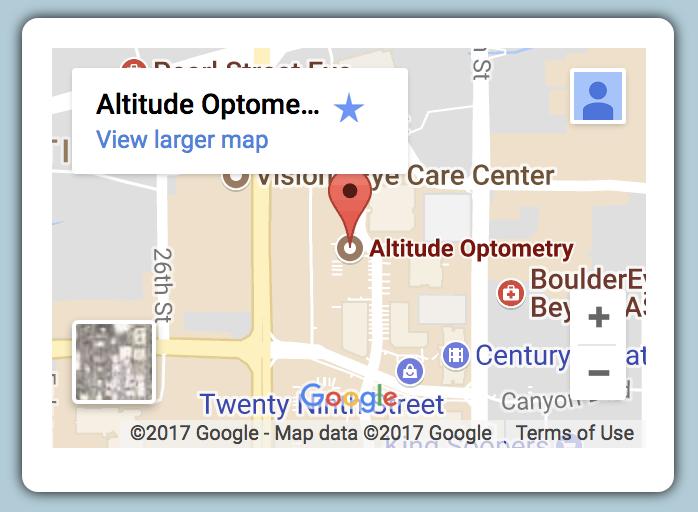 homepage map of Altitude Optometry