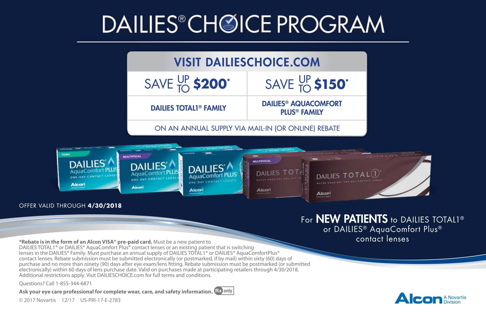 Save up to $200 on Alcon Dailies Contact Lenses
