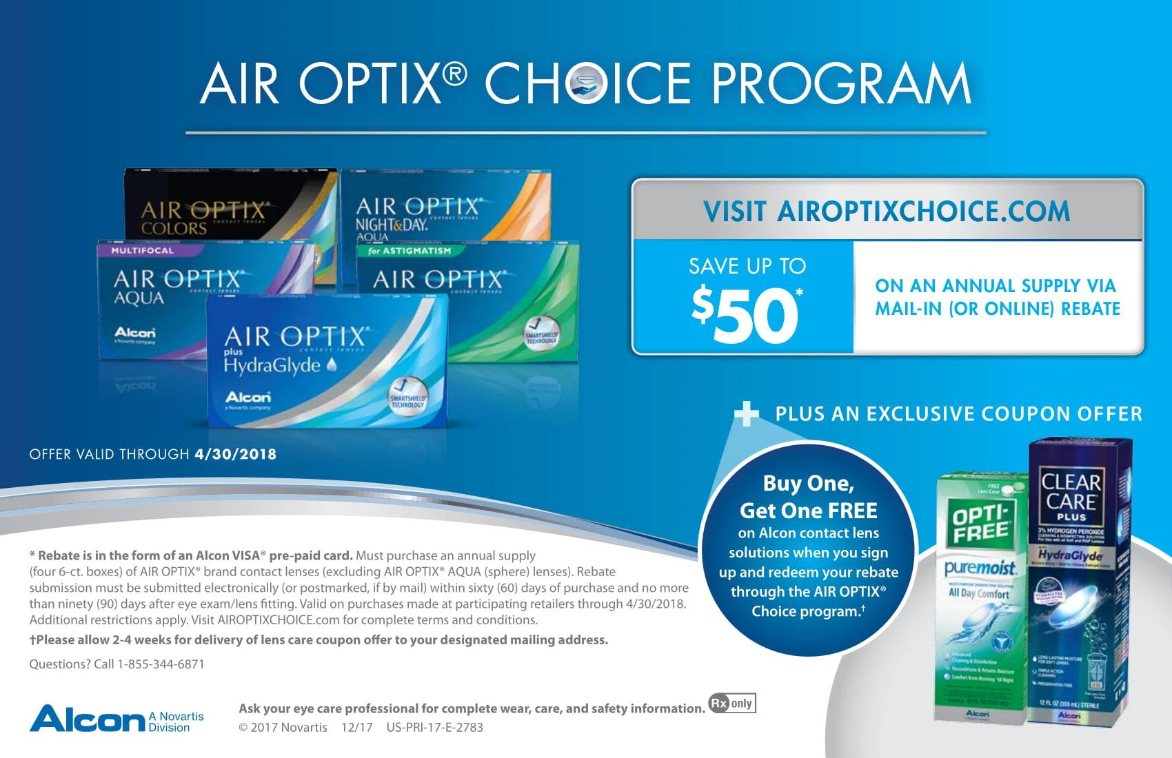 Up to $50 off Air Optixs contact lenses