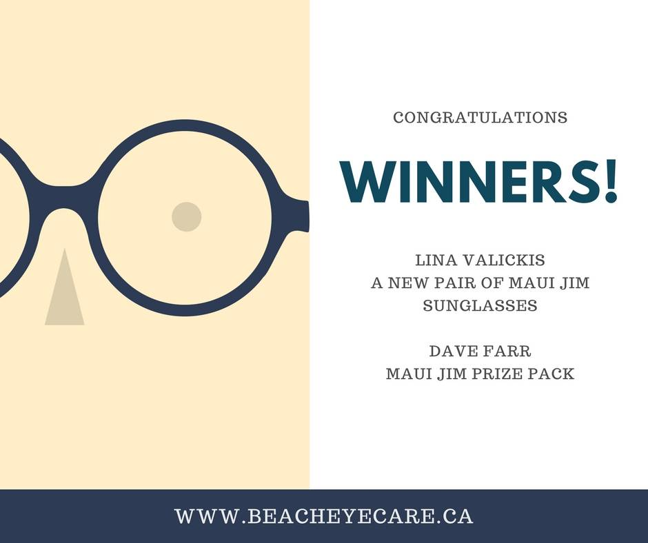 Maui Jim ad with cartoon glasses and text congratulations winners lina valickis a new pair of maui jim sunglasses dave farr maui jim prize pack