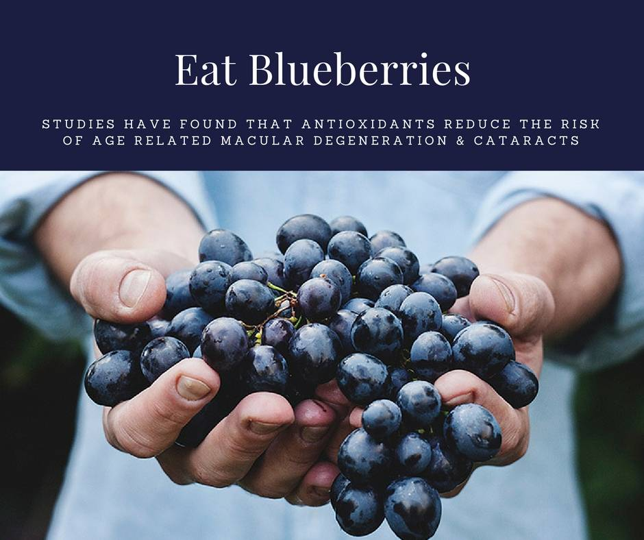 Blueberry ad with text studies have found that antioxidants reduce the risk of age related macular degeneration and cataracts
