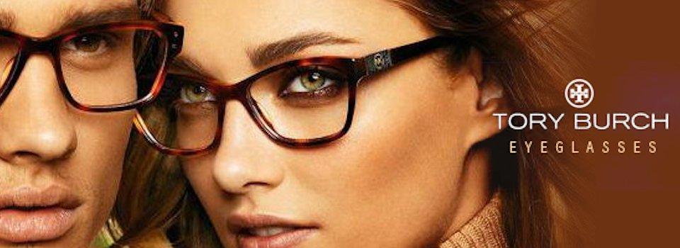 Woman wearing tory burch eyeglasses in Orange
