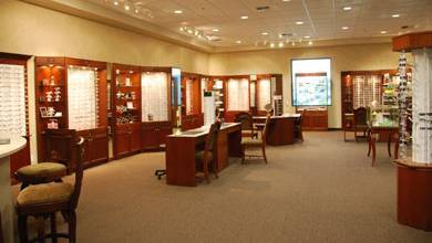 Premier Eyecare Optometric Center interior with eyeglass display