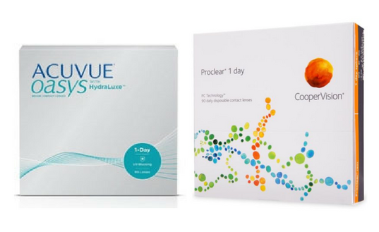 Featured Contacts - acuvue oasys and coopervision proclear 1 day
