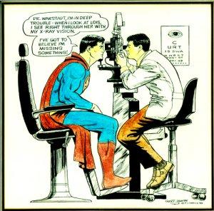 superman getting an eye exam