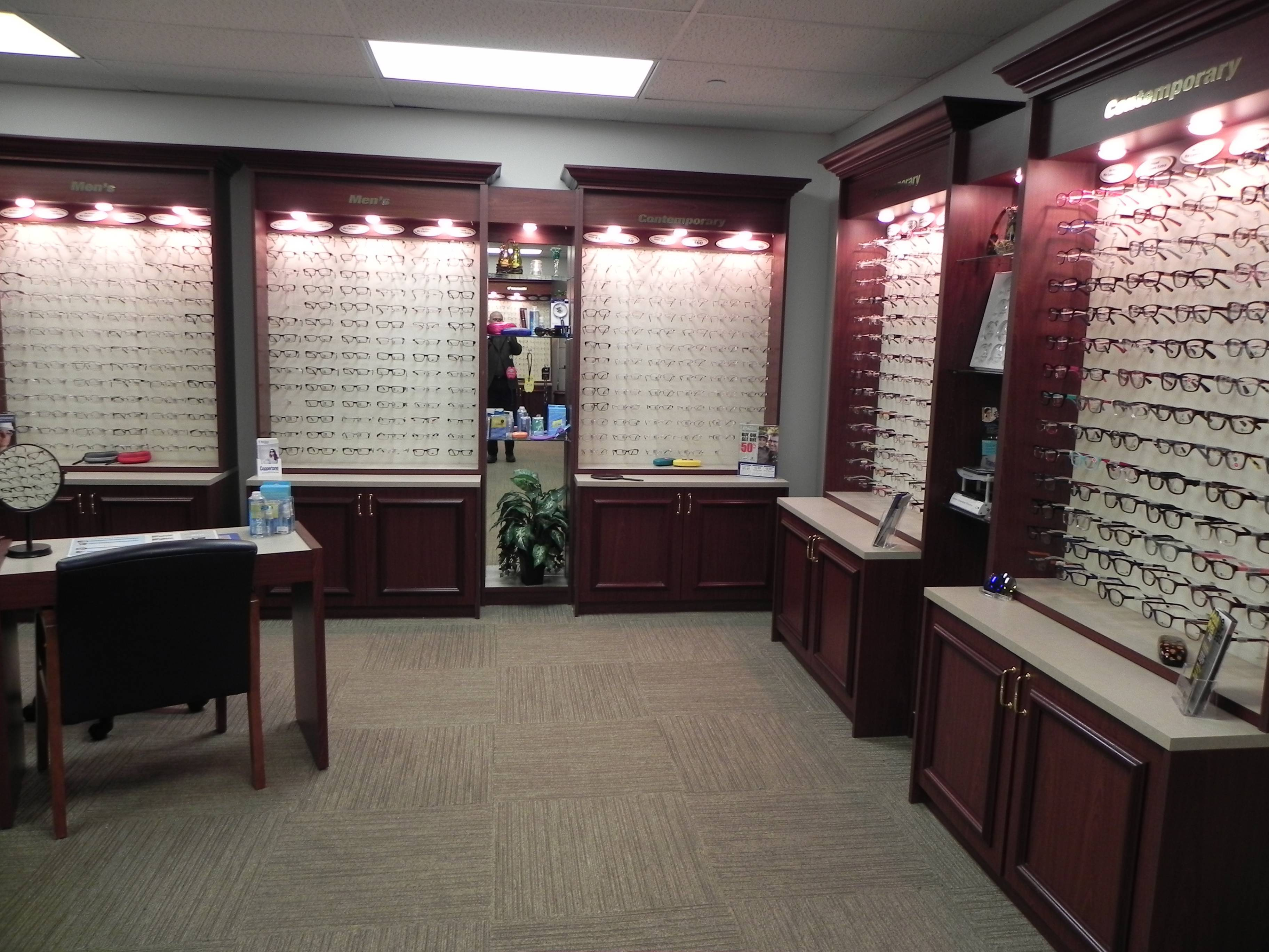 Risk Optometric Associoates Fort Bragg Wall of Eyeglasses