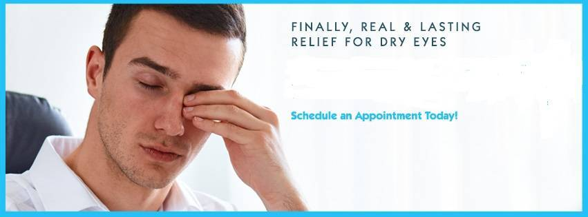 man rubbing irritated eyes: Finally, real & lasting relief for dry eyes - Schedule an Appointment Today!