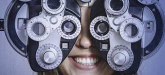 woman getting an eye exam in texarcana tx
