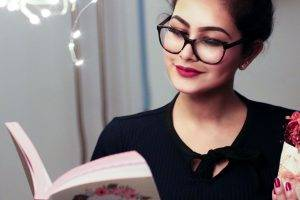 Woman Glasses Reading Book 1280×853
