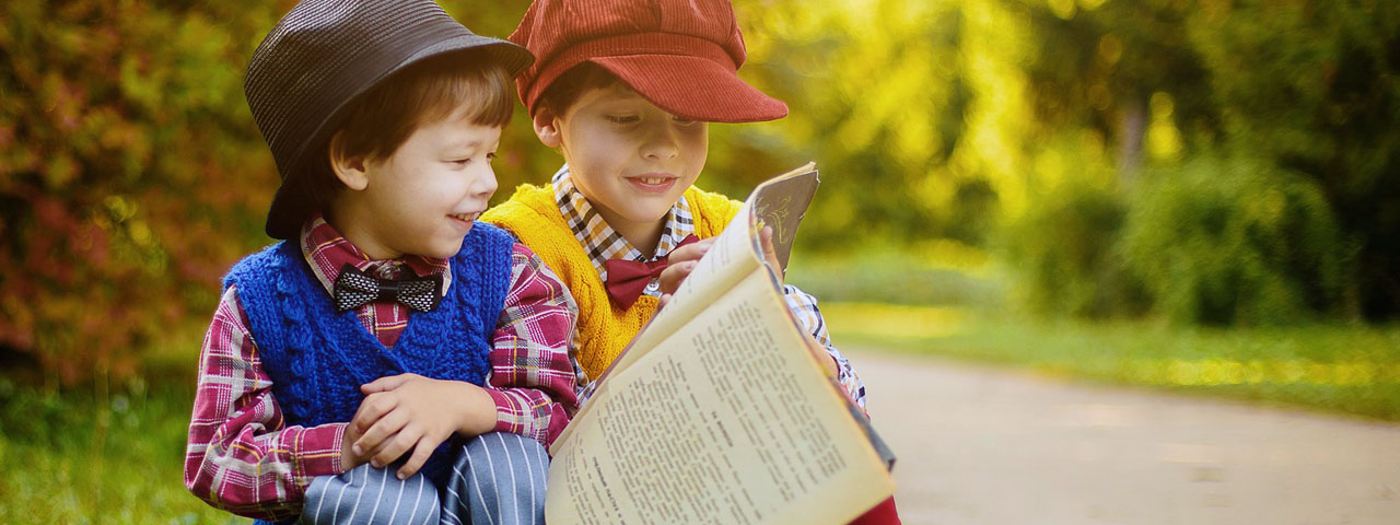 Children Reading Newspaper Outside in Mineola & Middle Village,NY.