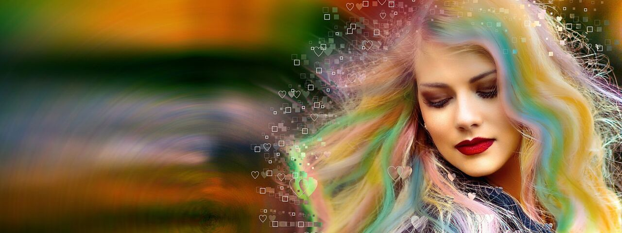 Girl Abstract Colorful Hair. Astigmatism causes blurry vision and can make driving and other tasks difficult