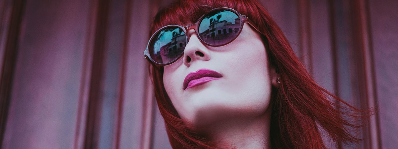 Woman Sunglasses Red Hair 1280x480
