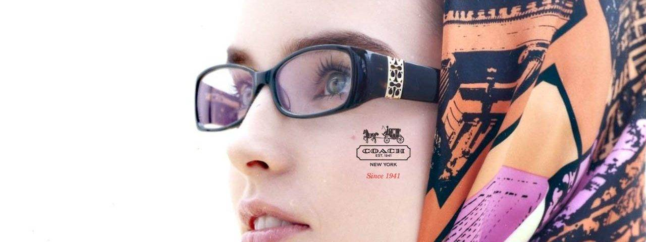 Coach brand glasses on woman