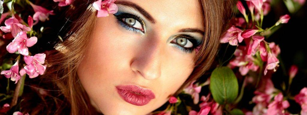 Female Pretty Eyes Flowers 1280×480