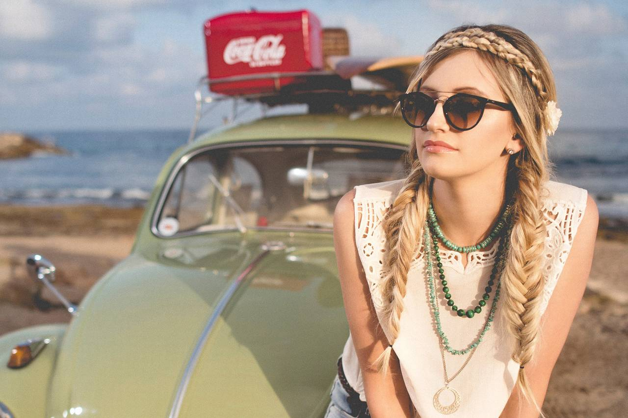 Girl Car Sunglasses Braids 1280x853