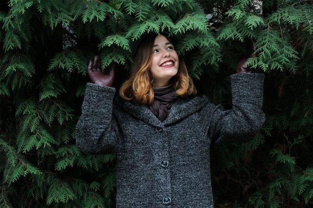 Girl Coat Pine Tree 1280 x 853