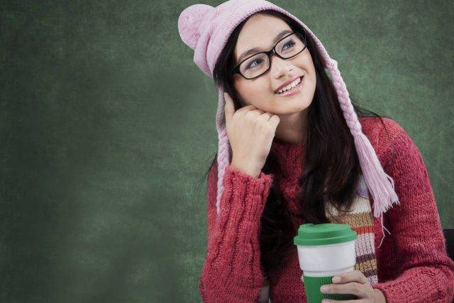 girl glasses hat thinking