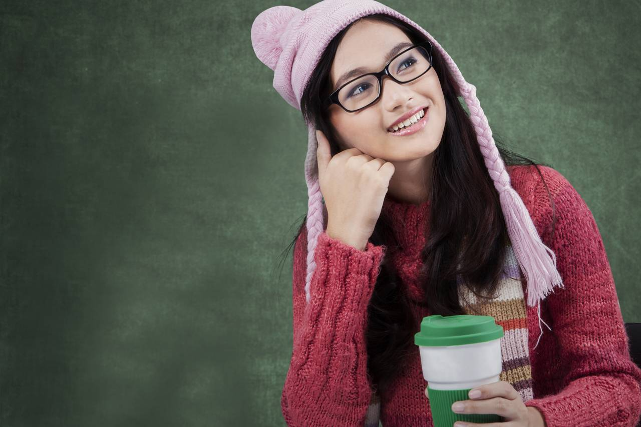 Girl Glasses Hat Thinking 1280x853