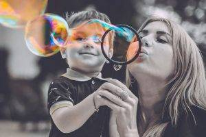 Mom Son Blowing Bubbles in Nashua, NH