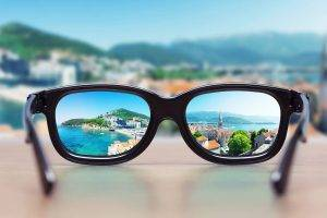 cityscape focused in glasses