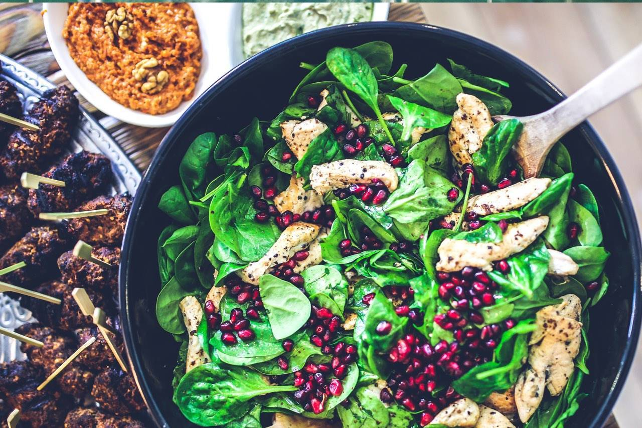 food nutrition spinach chicken salad