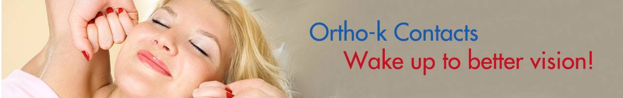 ortho-k banner with blonde woman; text: wake up to better vision