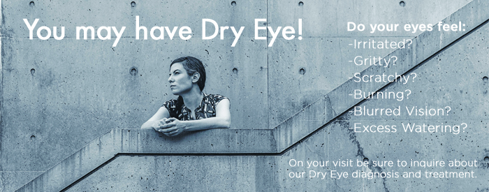slide: You may have dry eyes, woman on cement stairs